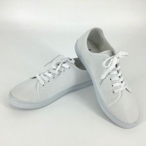 FCUK White Canvas Plimsoll Trainers NWOT , Size 9